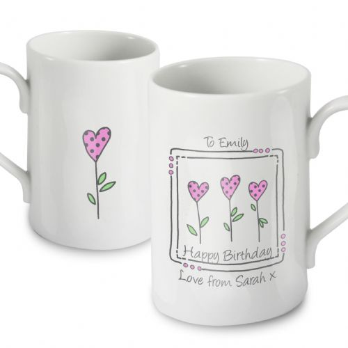 Personalised 3 Hearts Message Mug